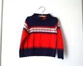 Fair Isle Sweater, 1970's, Size 3T