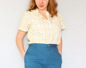 RESERVED FOR HELEN 1950s Blouse in Yellow and Grey Plaid Medium