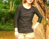 Black Shirt Hip Length with Simple Three-Quarter Sleeves