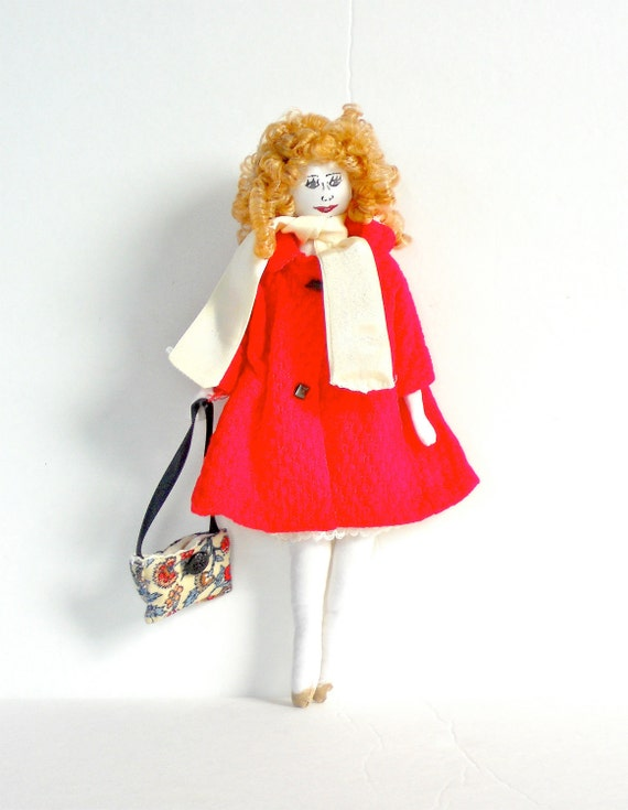 Cotton Cloth Doll Handmade with Red Vintage Trench Coat and White Silk Scarf