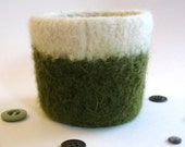 Felted Coffee Sleeve - Olive Green and White - FREE Shipping