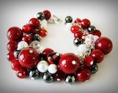 Red, White Pearl and Hematite Beads Cluster Bracelet