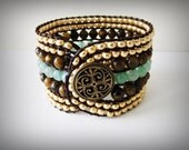 Handcrafted Beaded Leather Wrap Bracelet (green, brown, gold)
