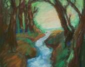 Original Expressionist Landscape - Wooded Creek