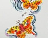 Hope and Life Butterflies- Original Ink & Watercolor 5x7 painting