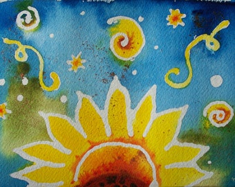 SunFlower Swirls Original Fanciful Abstract Watercolor 5x7 painting, cheerful, home decor