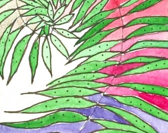 Original Expressionist WaterColor ACEO Painting- Dancing Ferns 2