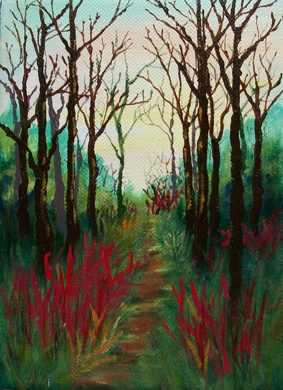 Bare Autumn Cathedral Original Expressionist Painting by Diane Rank