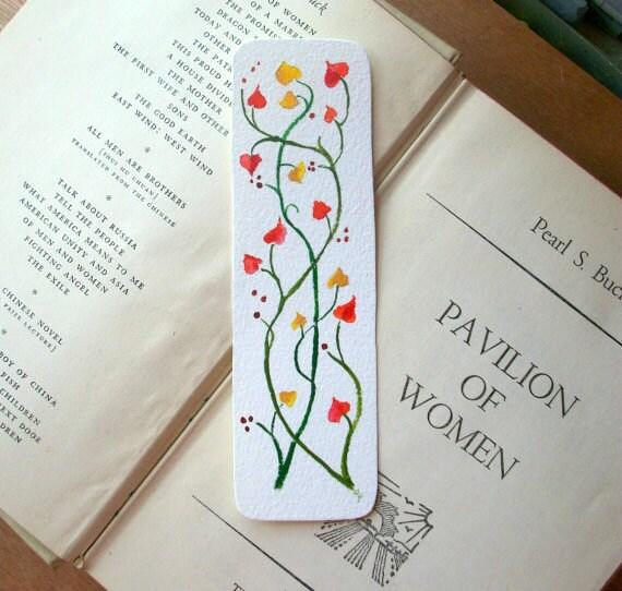 Handmade Bookmark Original Watercolor Hearts and Vines