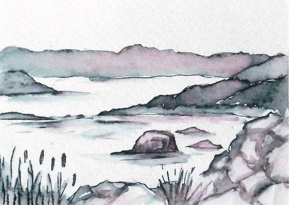 Original Pen and Ink Wash Landscape Painting Nova Scotia Small format ACEO