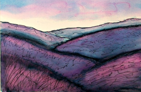 Original Landscape, Pen and Ink Landscape, Watercolor, Moody Landscape, Minimalist, Purple, Blue, Violet, Home Decor