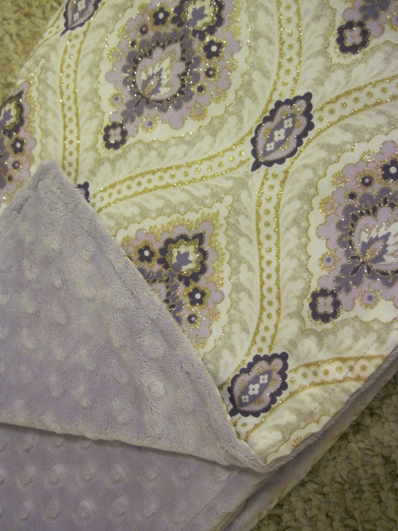 Baby Girl Blanket, Michael Miller Antiquity Delilah in Purple and Lavender Dot Minky
