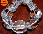 Falling Snow Clear Quartz Rock Crystal Gemstone Faceted Nugget 18X15MM Loose Beads 5 Beads (10233733-36)