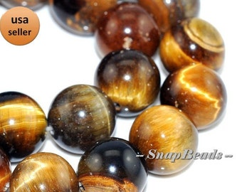 10mm Cognac Tiger Eye Gemstone Cognac Brown Round Loose Beads 15.5 inch Full Strand (90165015-1)