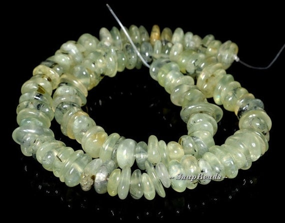 Moss Pond Prehnite Gemstone Rondelle River Pebble 12X10MM Loose Beads 15.5 inch Full Strand (90119836-114)