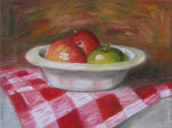 8 x 10 PRINT of original oil painting, apples in bowl