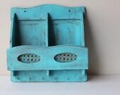Upcycled Shabby Chic Turquoise Mail Organizer Key Holder