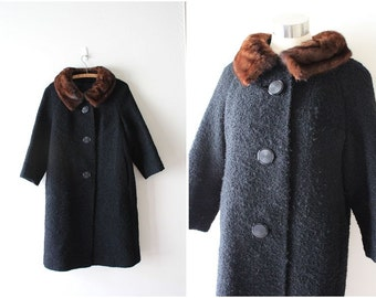 Vintage 60s Jackie Tweed Swing Coat Mink Fur Collar (S/M/L) Mad Men