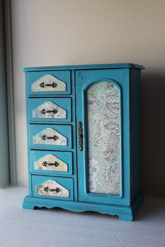 Gift Idea:Shabby Chic Large Turquoise Hand Painted Jewelry Box
