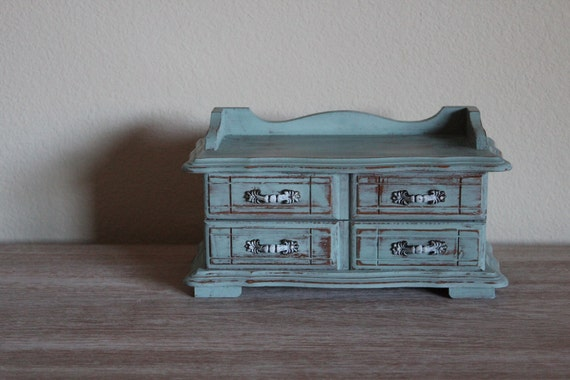 Painted Distressed Duck Egg Blue Vintage Jewelry Box