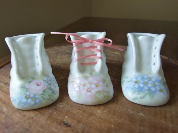 Personalized Hand-Painted Porcelain Keepsake Baby Booties