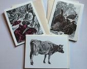 Animal Greeting Card Full Set - Cow, Pig, AND Tortoise