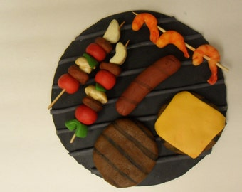 Fondant BBQ Food Cake Toppers