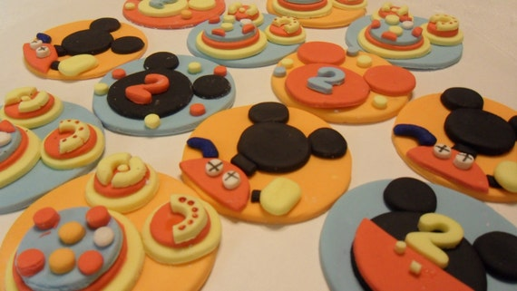 Fondant Mickey Clubhouse Inspired CupcakeToppers