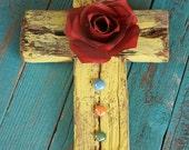 Rustic Cross with Handmade Metal rose, Glass Beads, Yellow