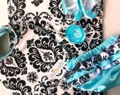 Satin Baby Girl Diaper Cover in Tiffany Blue with Black and White Damask ruffles.  Adorable Photo Prop.  Great for Spring