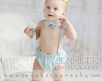 Baby Boy Cake Smash - Boys Diaper Cover - Bow Tie - Suspenders - Baby Blue - Newborn photo prop - baby boy photo prop