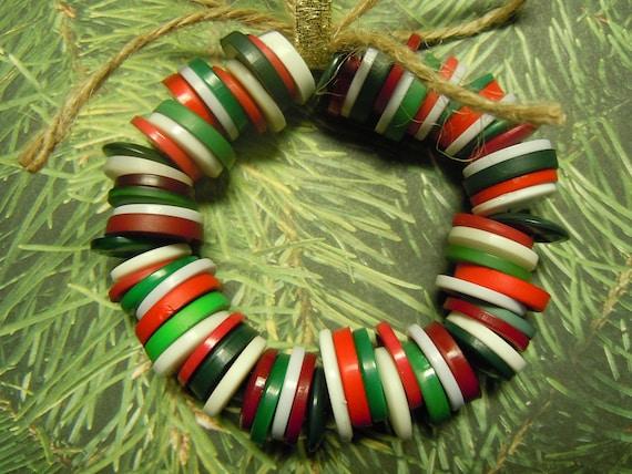 Christmas button wreath ornament
