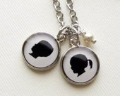 Silver Custom Child or Pet Silhouette Charm Necklace  for Mother or Grandmother