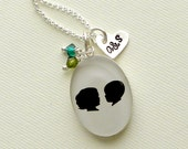 Mother's Day Custom 2 Silhouette Oval Silhouette Necklace with Heart Monogram Charm and 2 Birthstone Dangles for Mother