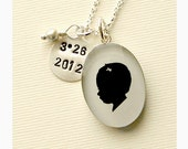 Mother's Day Custom Child or Pet Sterling Oval Silhouette Necklace with Round Stamped Charm and Birthstone or Pearl Dangle