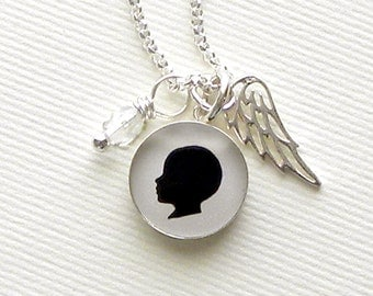 Angel Baby Necklace in Small Sterling Pendant with clear crystal dangle and sterling silver angel wing charm for Mother
