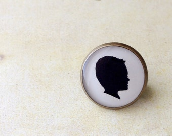 Father's Day Custom Silhouette Brass Tie Pin for Father or Grandfather