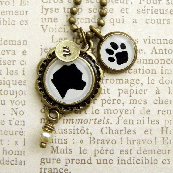Custom Antique Brass Pet Necklace with your Pet's Silhouette, Initial and Paw Pendant