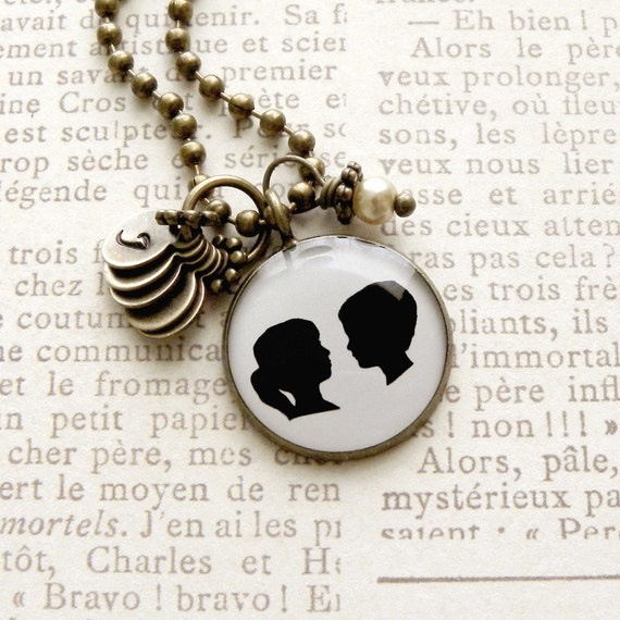 Generic Girl & Boy Silhouette Necklace with Tiny Initial Stamps of your choice - up to 5