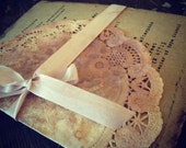 bridal shower Invitation Handmade Hand stamped shabby country chic Country Chic doilies doily