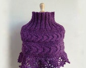 SUPER New Years Special V -- PURPLE patterned Poncho - capelet - shawl, winter, warm, womens, knitted