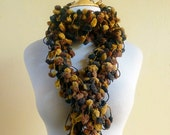 HONEYCOMB scarf - mulberry cocoon pompom scarf - long chunky lariat pom pom - Spring accessories