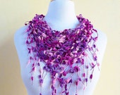 VIOLET FUSION Pom Pom Triangle Scarf - Violet / Purple / Rose / Fuchsia -  Spring fashion accessories