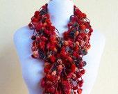 MAPLE LEAF pompom scarf - long chunky lariat - pom pom cocoon mulberry scarf - Spring accessories