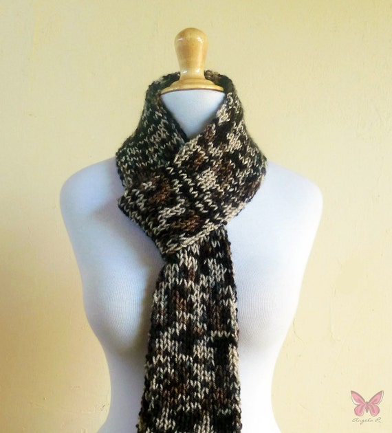 Knit Scarf - SAFARI - Hand-knitted luxury long scarf - Unisex - accessories
