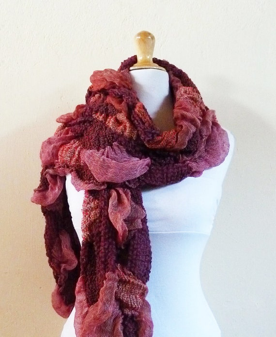 Scarf - BURGUNDY / Red / Maroon Fancy Scarf - Luxury textured long chunky scarf - Winter accessories