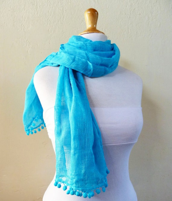 TURQUOISE BLUE Spring scarf with pom pom edge - scarflette cowl neckwarmer - Spring / Summer