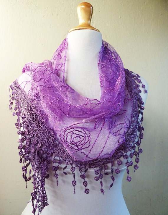 Womens scarf PURPLE ROYALE with floral embroidery / silver highlights / richly fringed edge - scarflette shawl neckwarmer - Spring / Summer