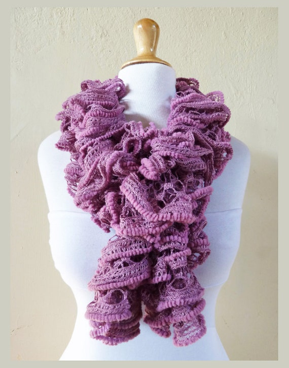 Knit Scarf DEEP PINK ROSE - Ruffled Lace - flamenco, knitted - ruffle, accessories, fishnet