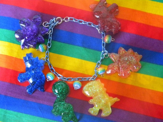 RAWR Rainbow Resin Charm Bracelet